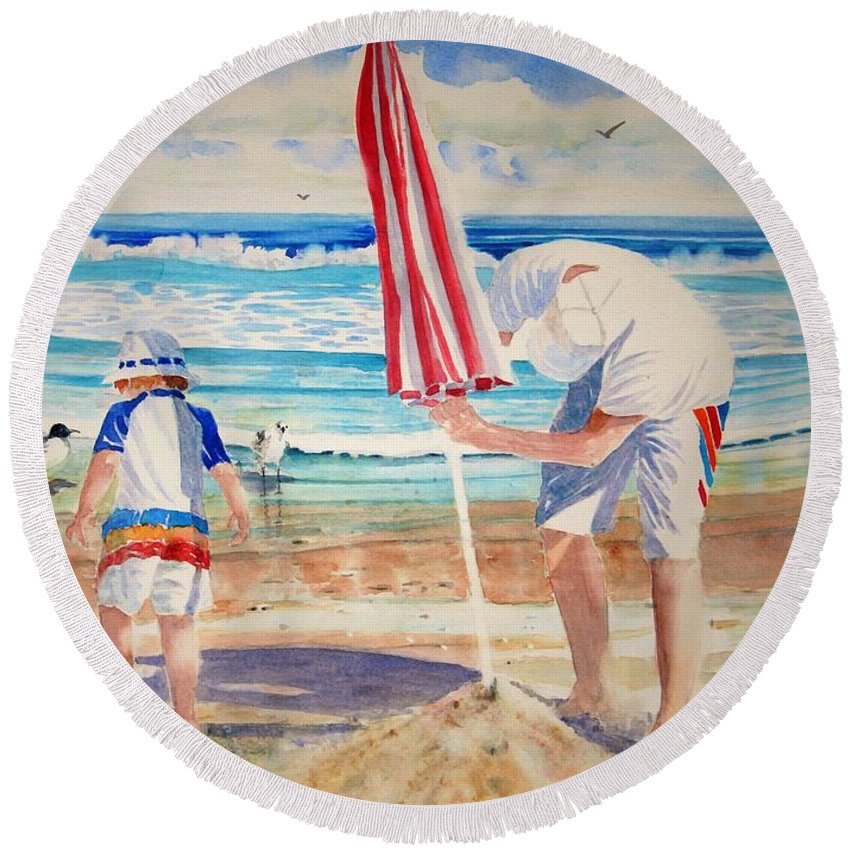 Beach Round Beach Towel featuring the painting Helping Dad Set Up The Camp by Tom Harris