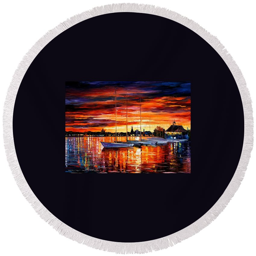 Afremov Round Beach Towel featuring the painting Helsinki - Sailboats At Yacht Club by Leonid Afremov