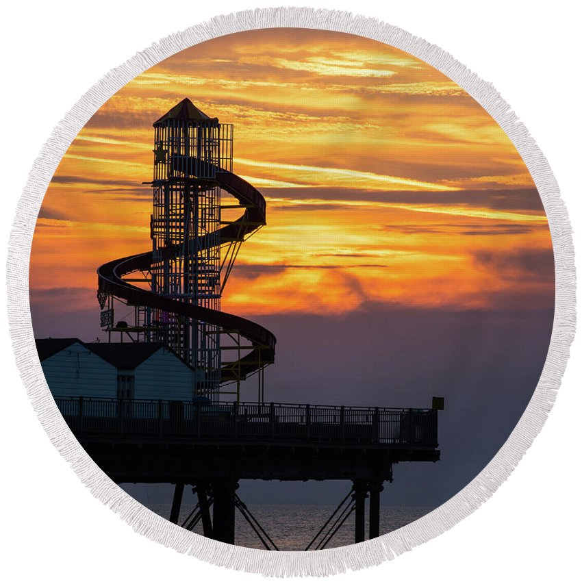 Herne Bay Round Beach Towel featuring the photograph Helter Skelter by Paul Martin