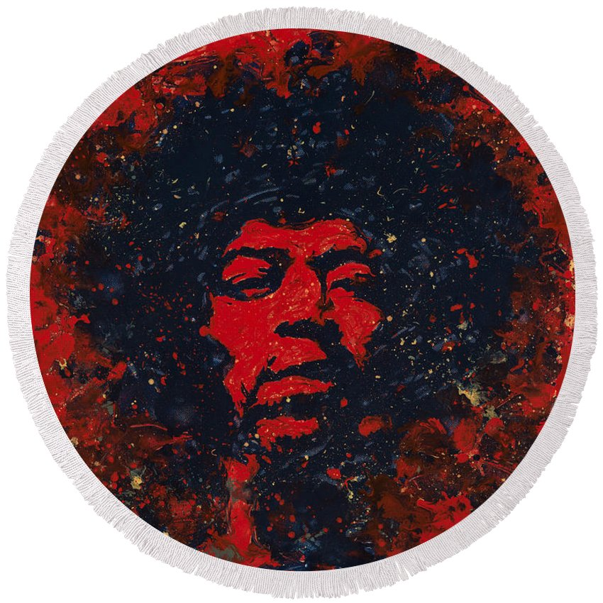 Jimi Hendrix Round Beach Towel featuring the painting Hendrix by Chris Mackie