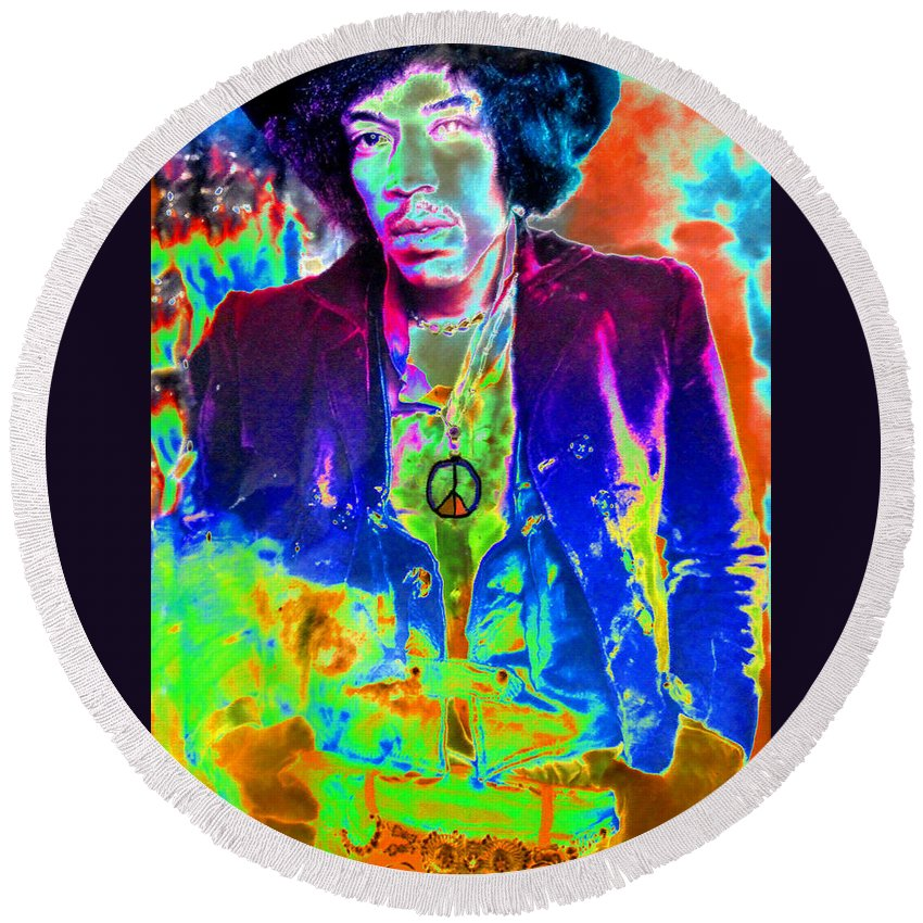 Art Round Beach Towel featuring the painting Hendrix by David Lee Thompson