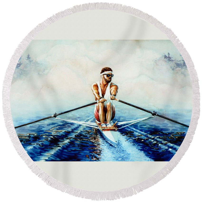 Sports Art Round Beach Towel featuring the painting Henley On The Horizon by Hanne Lore Koehler