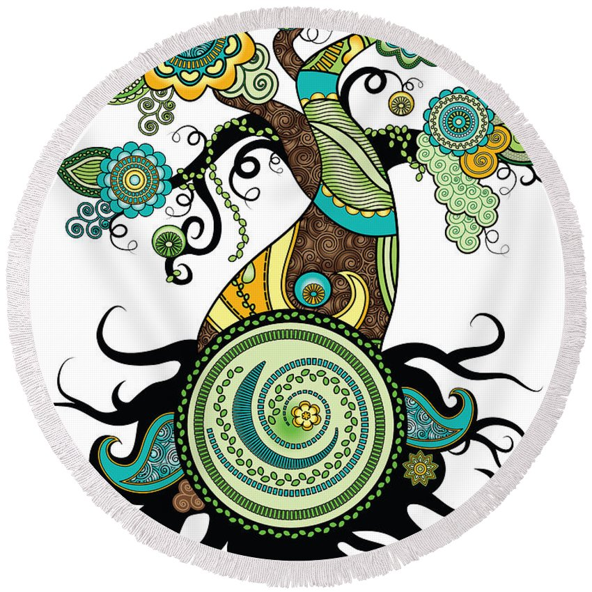 Henna Round Beach Towel featuring the digital art Henna Tree Of Life by Serena King