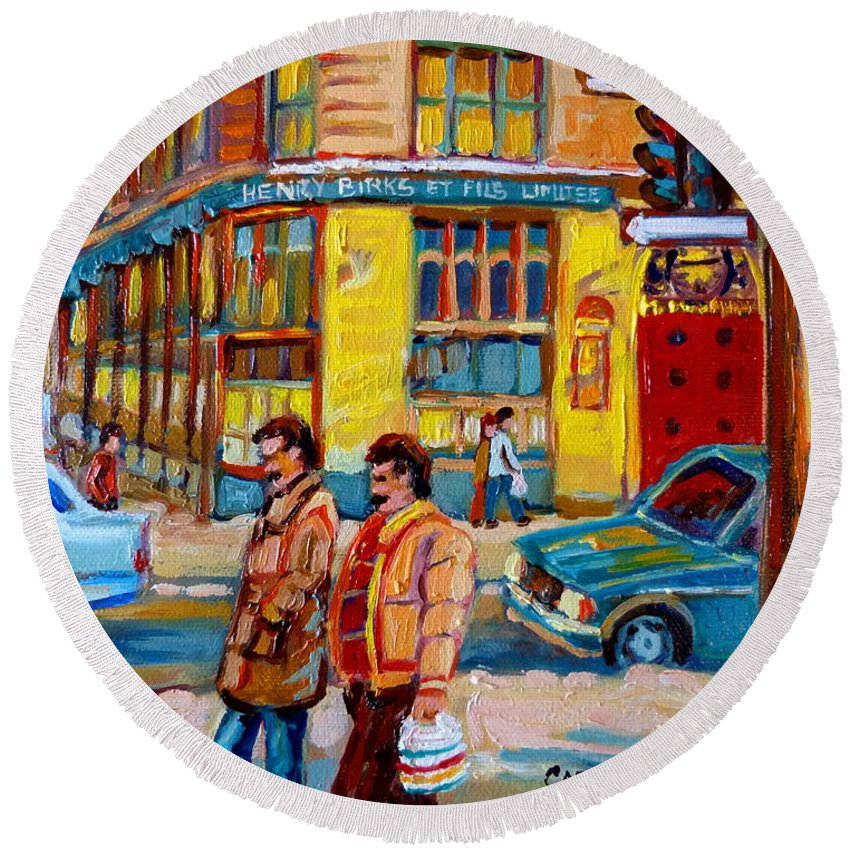 Downtown Montreal Round Beach Towel featuring the painting Henry Birks On St Catherine Street by Carole Spandau
