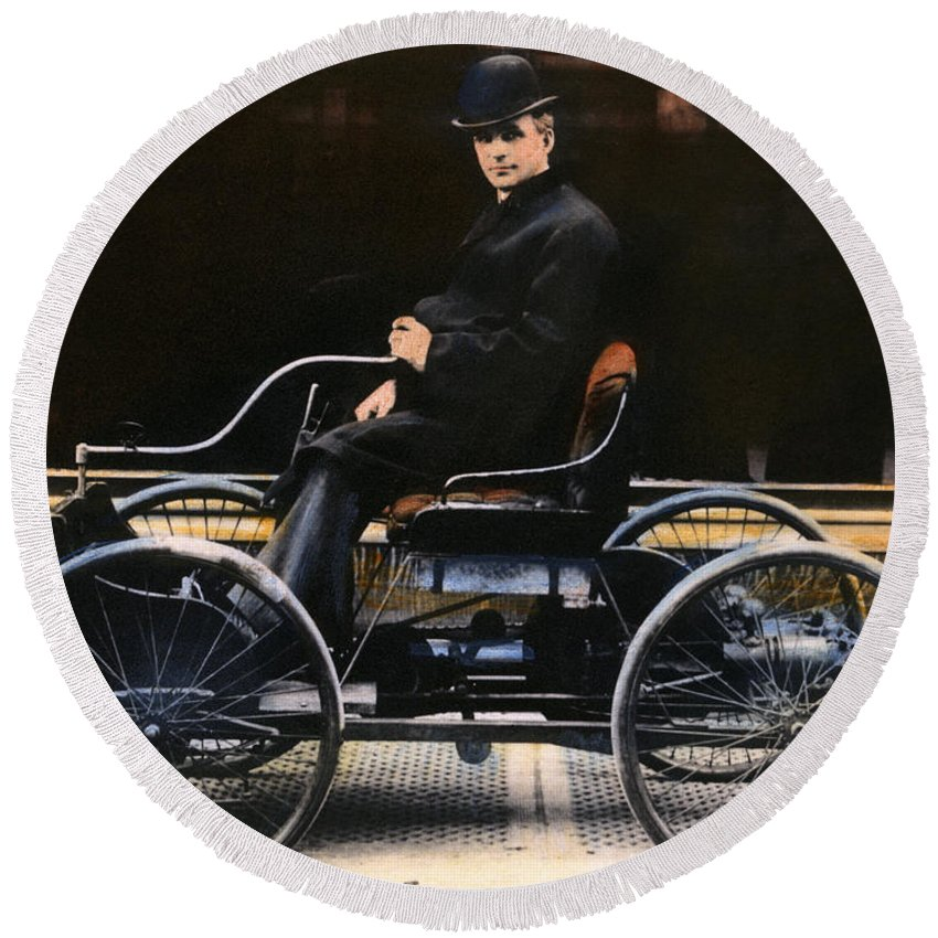 1896 Round Beach Towel featuring the photograph Henry Ford, 1863-1947 by Granger
