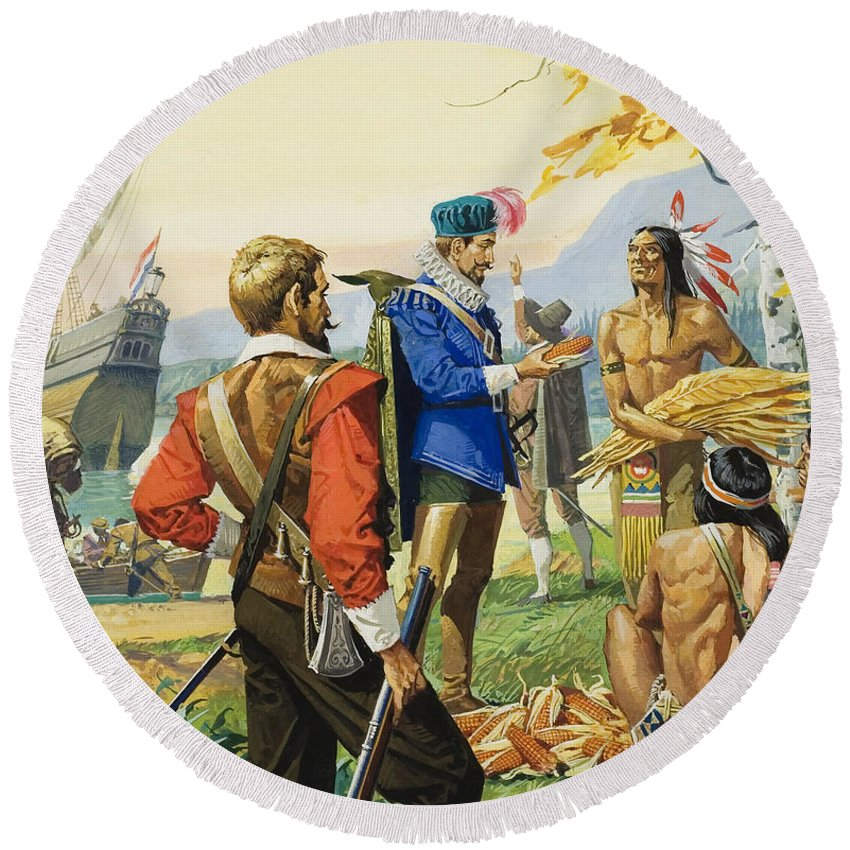 Explorer; Navigator; Ship; Boat; Trader; Trading; Exploration; Barter; Onlooker; Corn; Tobacco; Musket; Hill; Sitting; Water; Maple; Tree; Male; Portrait; Barter; Bartering; Goods; C16th; C17th; Children's Illustration Round Beach Towel featuring the painting Henry Hudson by Severino Baraldi