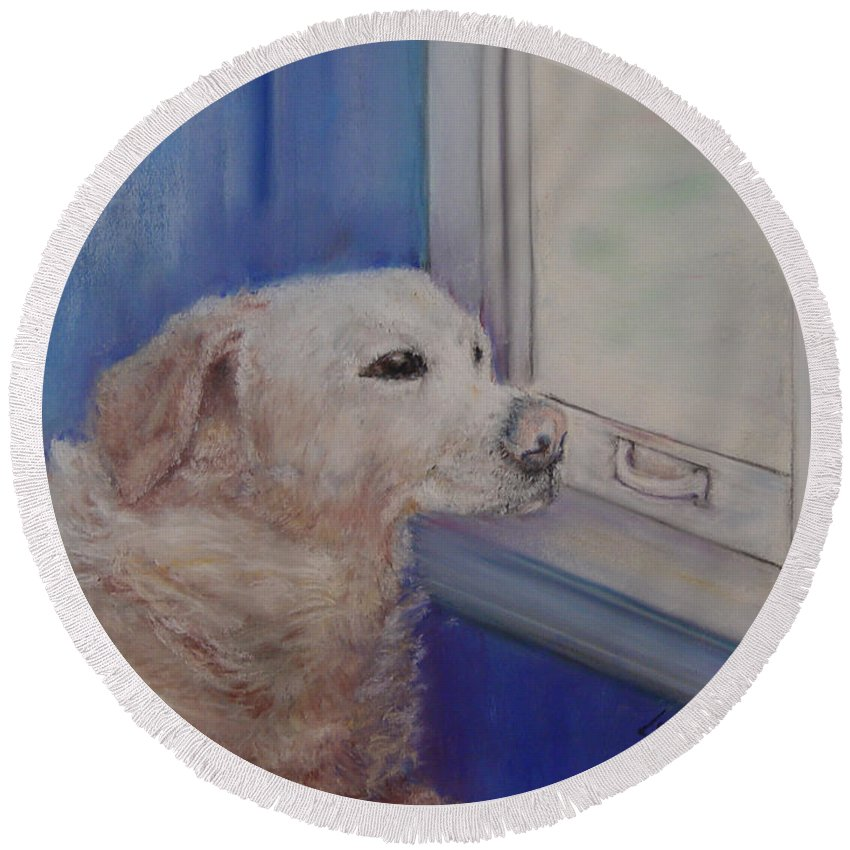 Dogs Round Beach Towel featuring the painting Henry by Loretta Luglio