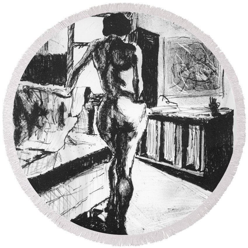 Lithograph Round Beach Towel featuring the mixed media Her Back by Ron Bissett