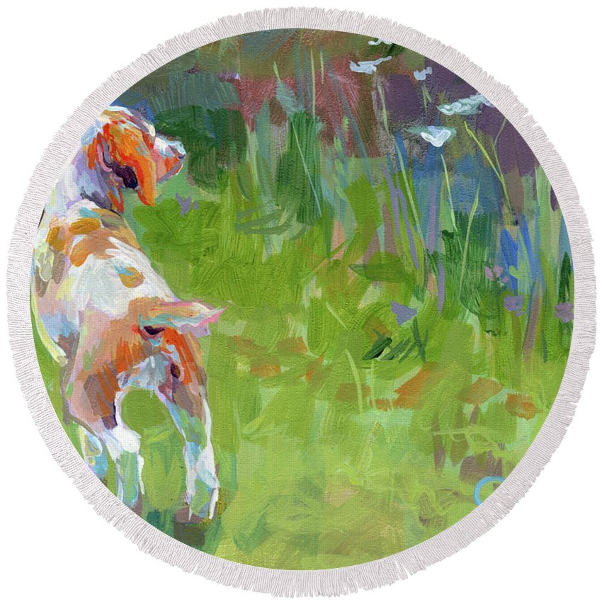 Brittany Spaniel Round Beach Towel featuring the painting Her First Point by Kimberly Santini