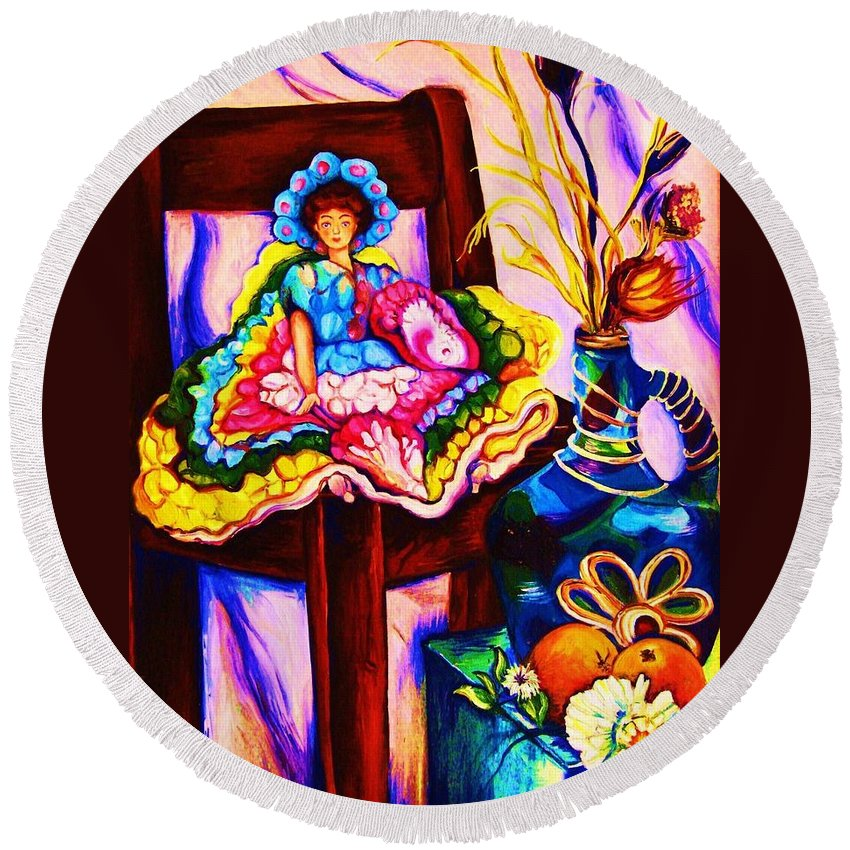 Collectables.antique Dolls Round Beach Towel featuring the painting Her Little Parasol by Carole Spandau