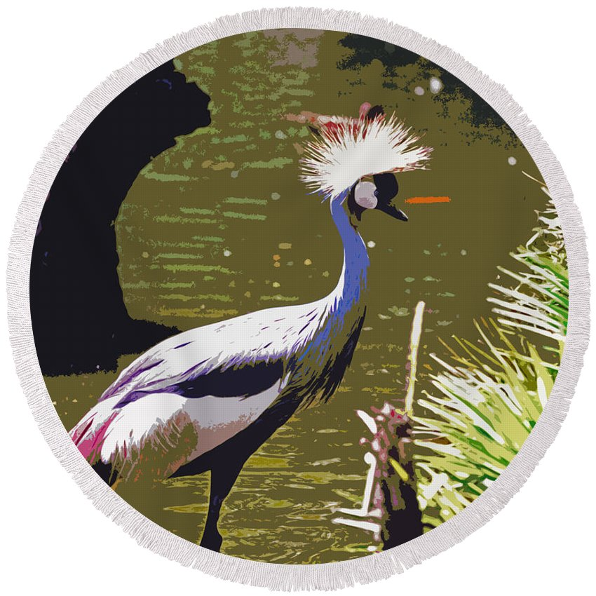 Bird Standing In Water Round Beach Towel featuring the painting Her Majesty by Kate Hopson