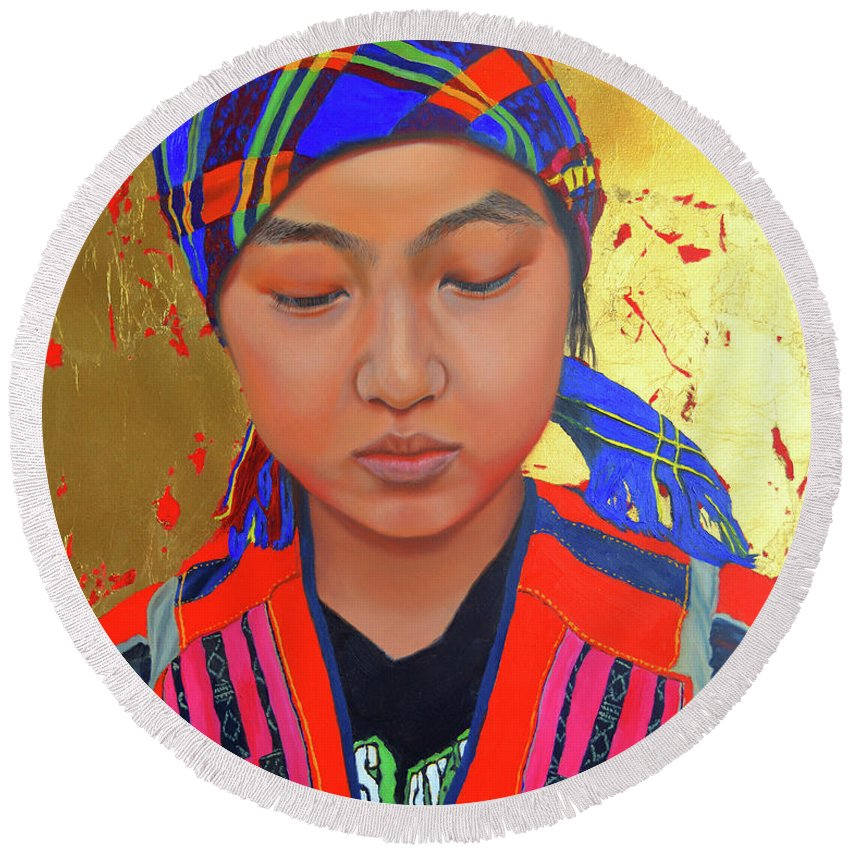 Portrait Painting Round Beach Towel featuring the painting Her Story by Thu Nguyen