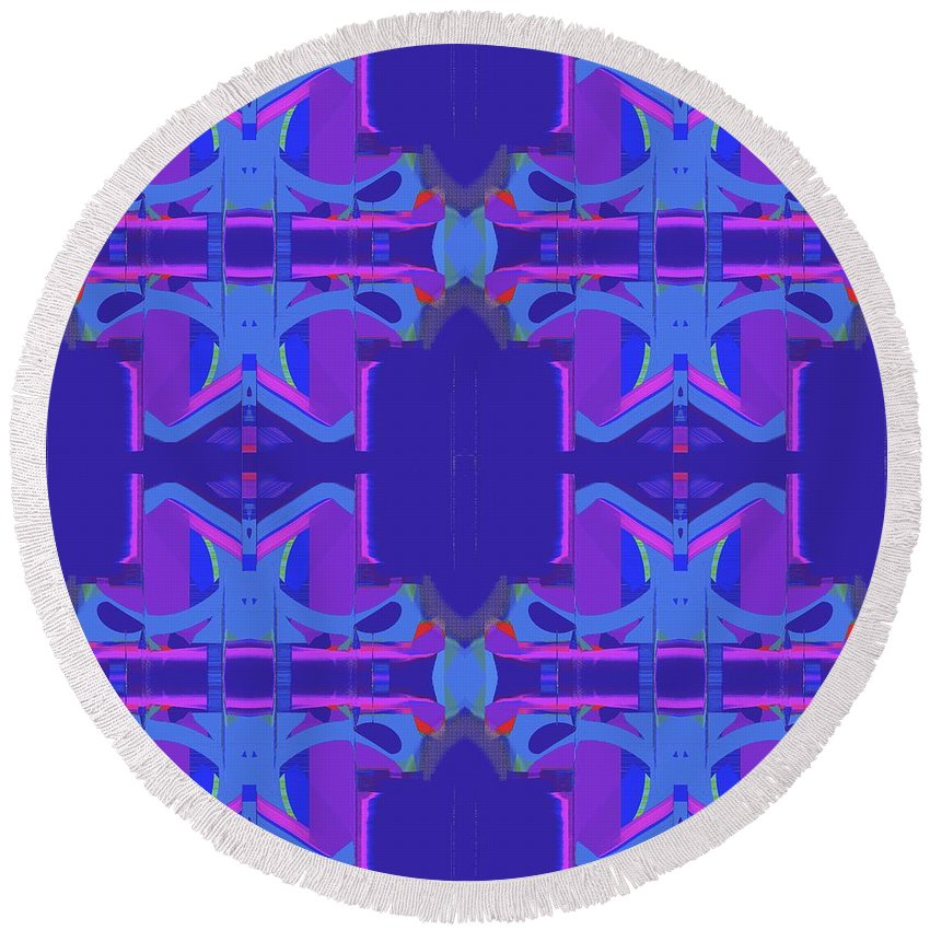 Abstract Round Beach Towel featuring the digital art Herbern Blue by Elisabeth Skajem Atter