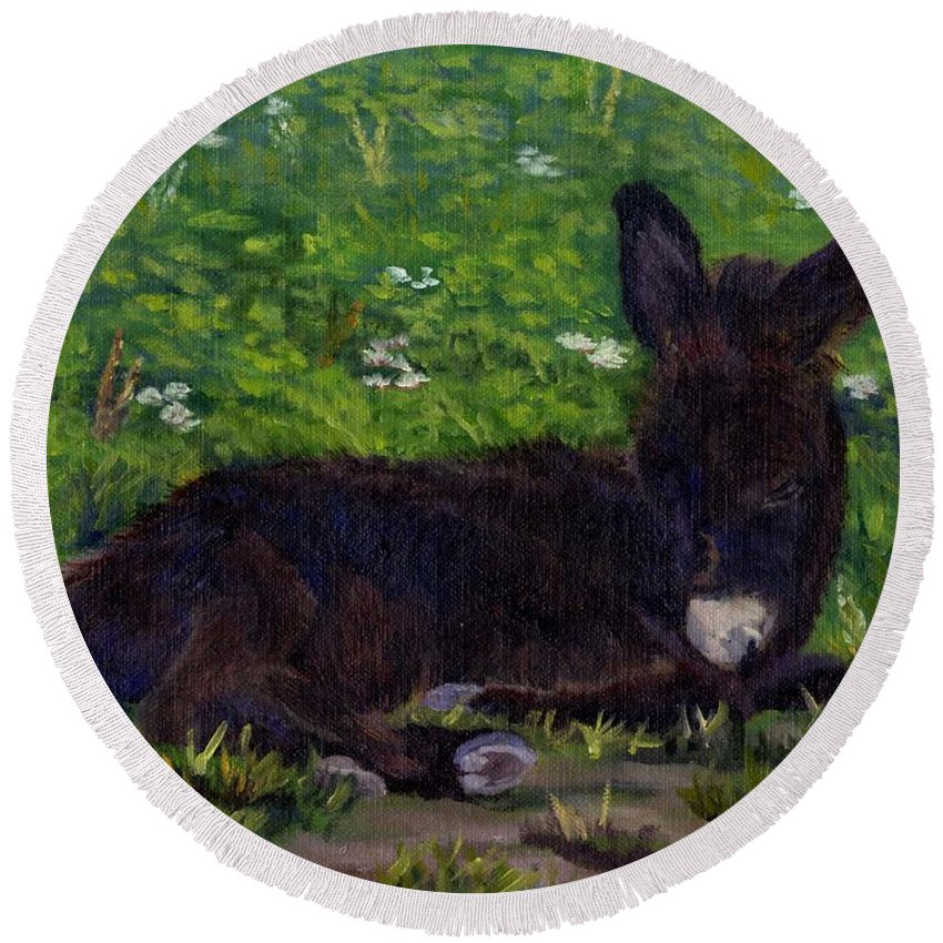 Donkey Round Beach Towel featuring the painting Hercules by Sharon E Allen