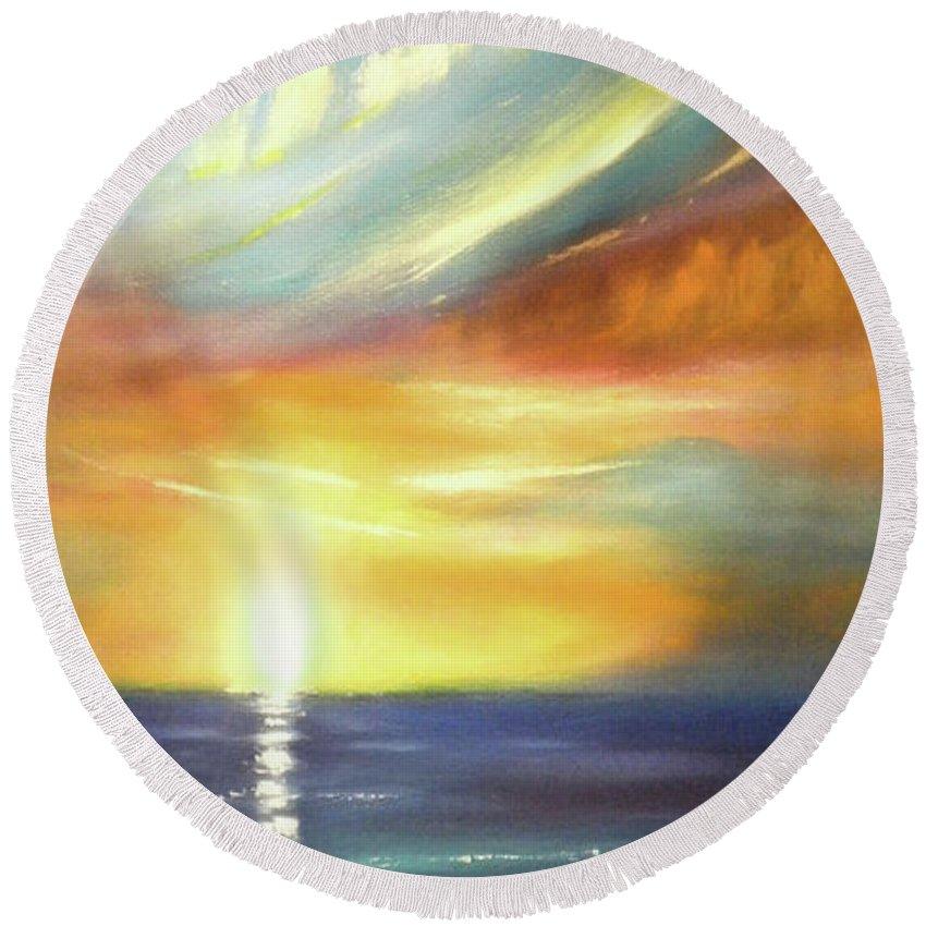 Brown Round Beach Towel featuring the painting Here It Goes - Vertical Colorful Sunset by Gina De Gorna