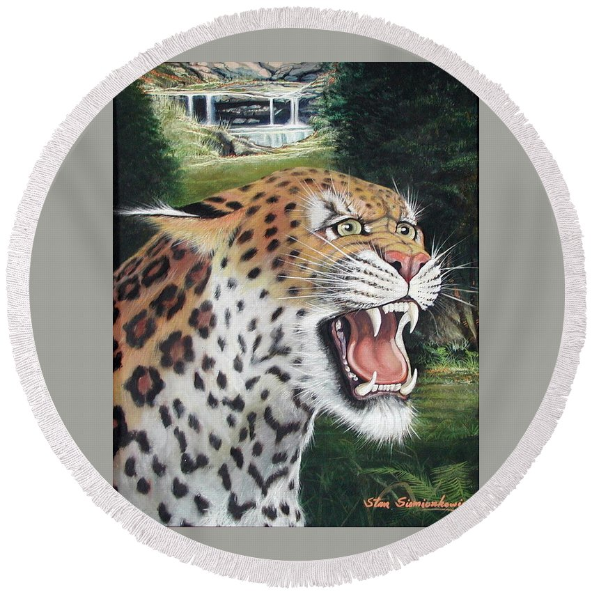 Wildlive Round Beach Towel featuring the painting Here Kitty Kitty by Stan Siemionkowicz