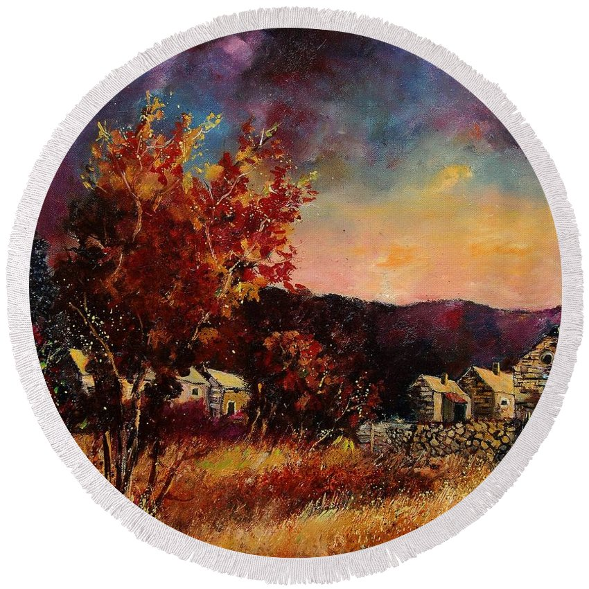 Tree Round Beach Towel featuring the painting Herhet by Pol Ledent