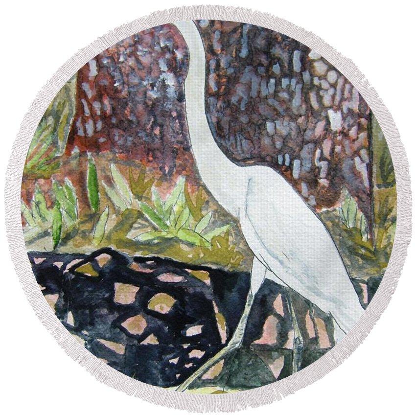 Bird Round Beach Towel featuring the painting Herron by Derek Mccrea