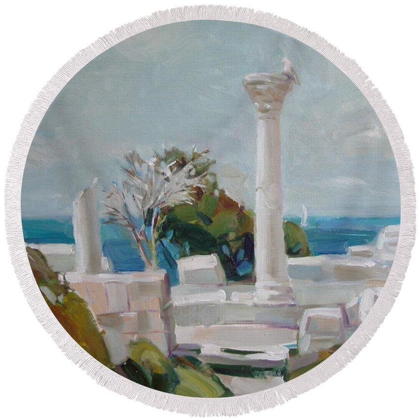 Ignatenko Round Beach Towel featuring the painting Hersoness by Sergey Ignatenko