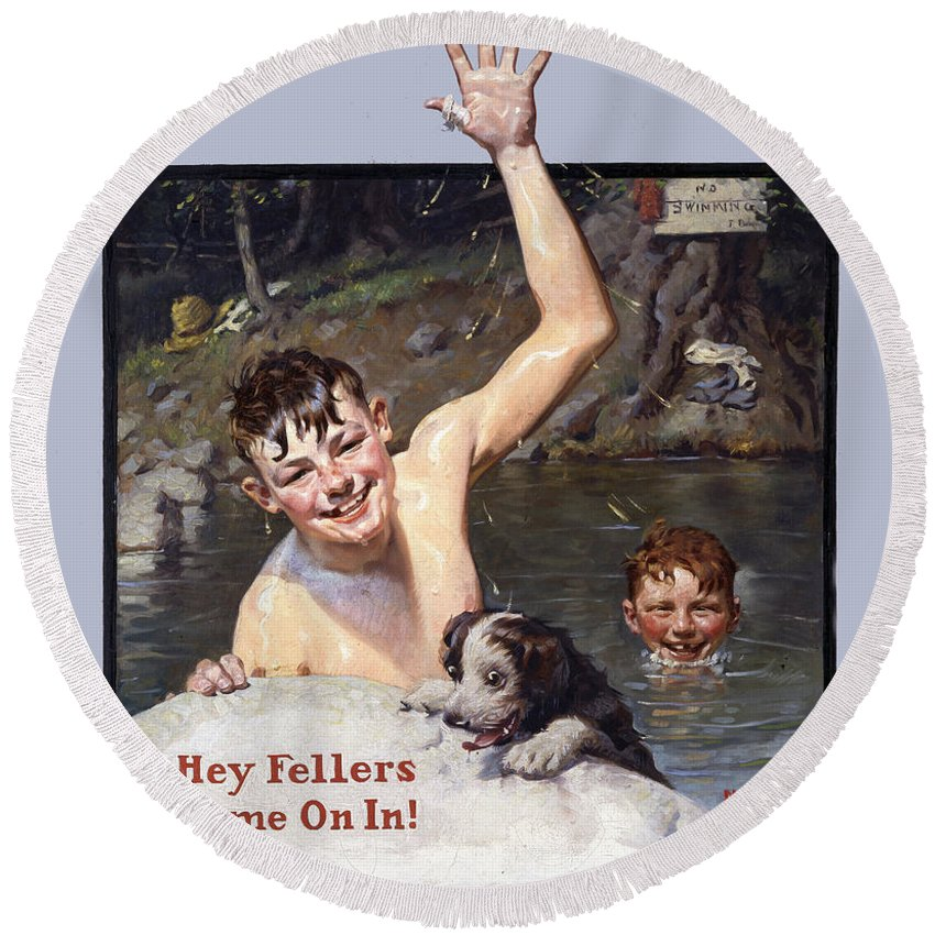 Hey Fellers Come On In Round Beach Towel featuring the painting Hey Fellers Come On In by Norman Rockwell