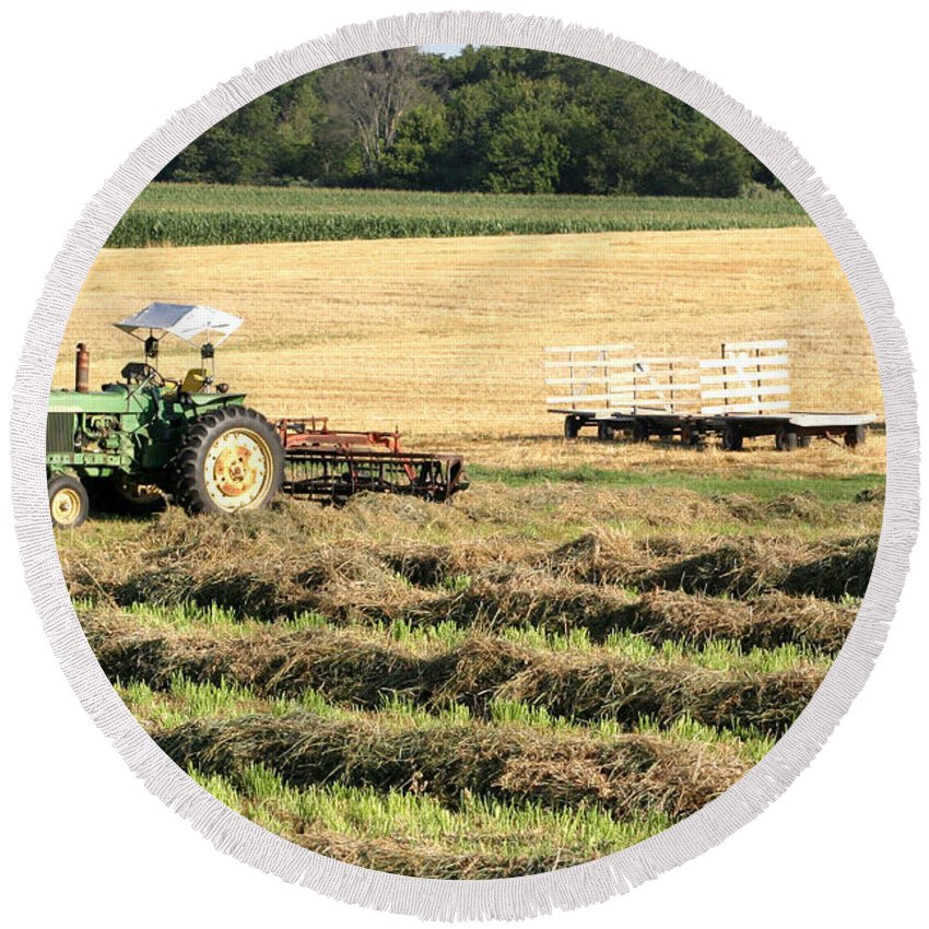 Agriculture Round Beach Towel featuring the photograph Hey Hay by Alan Look