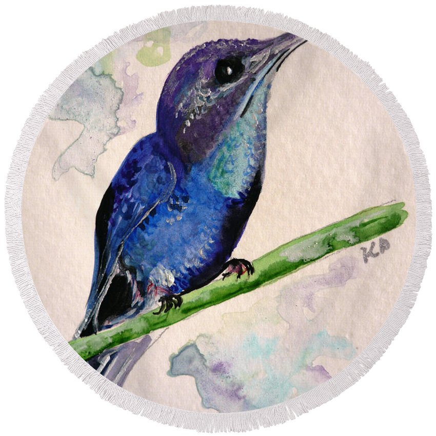 Hummingbird Painting Bird Painting Tropical Caribbean Painting Watercolor Painting Round Beach Towel featuring the painting hHUMMINGBIRD 2  by Karin Dawn Kelshall- Best