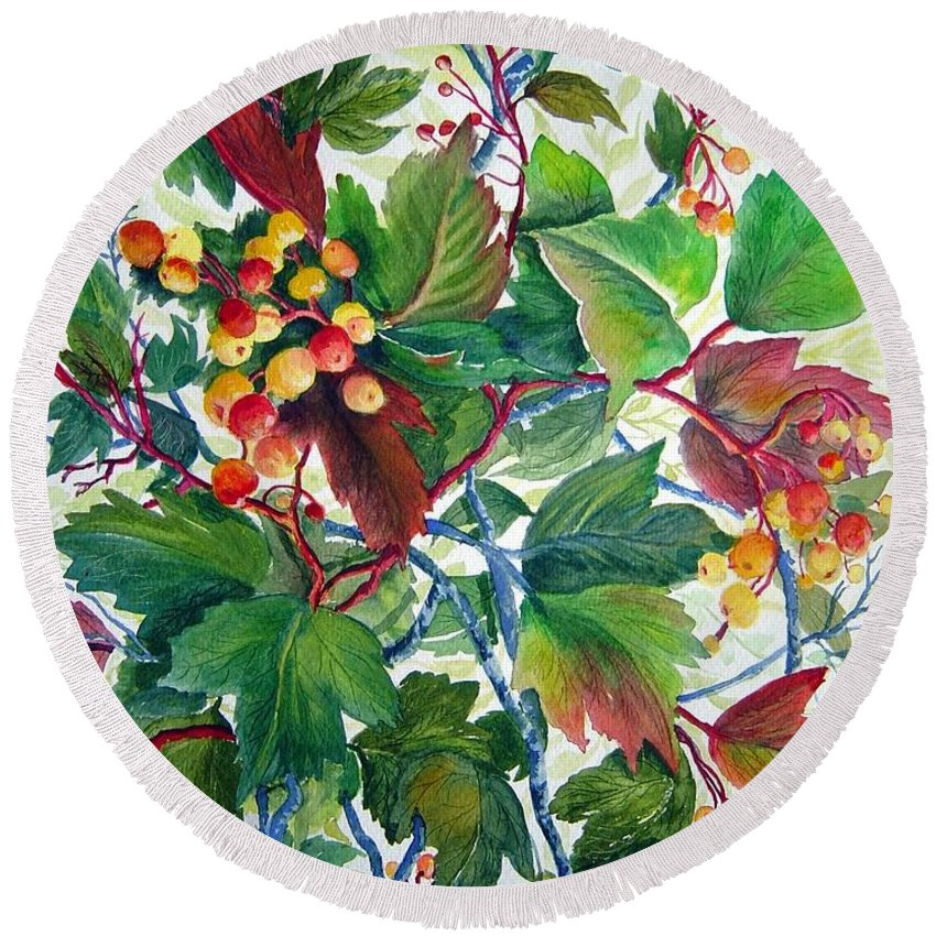 Hi Bush Cranberries Round Beach Towel featuring the painting Hi-bush Cranberries by Joanne Smoley