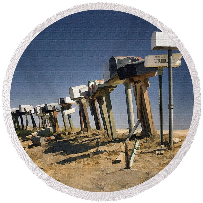 Mailboxes Round Beach Towel featuring the photograph Hi-way 41 Mailboxes by Sharon Foster
