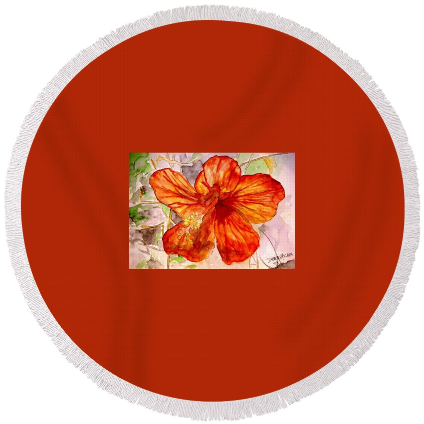 Hibiscus Round Beach Towel featuring the painting Hibiscus 2 by Derek Mccrea
