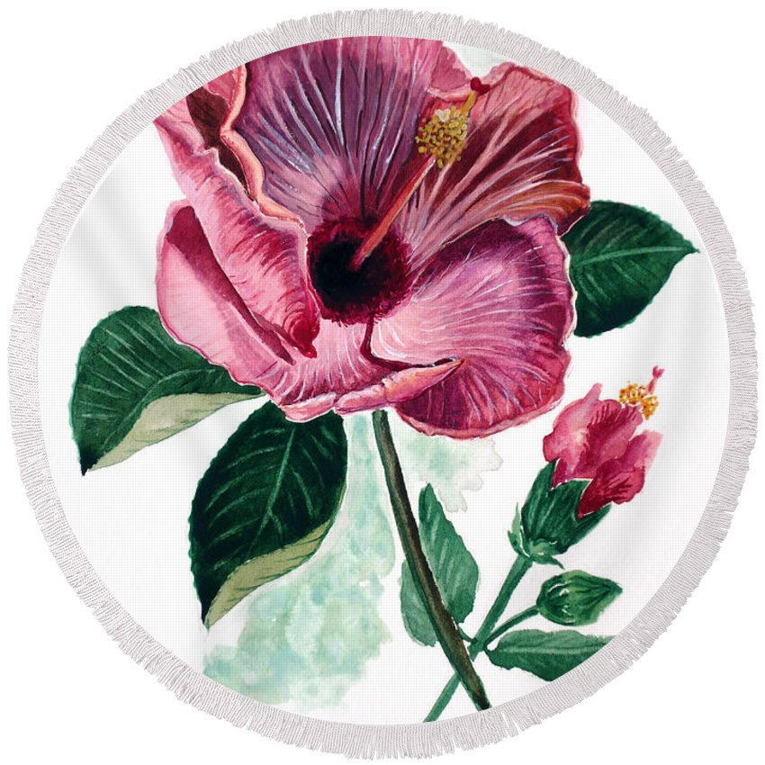 Flora Painting L Hibiscus Painting Pink Flower Painting Greeting Card Painting Round Beach Towel featuring the painting Hibiscus Dusky Rose by Karin Dawn Kelshall- Best