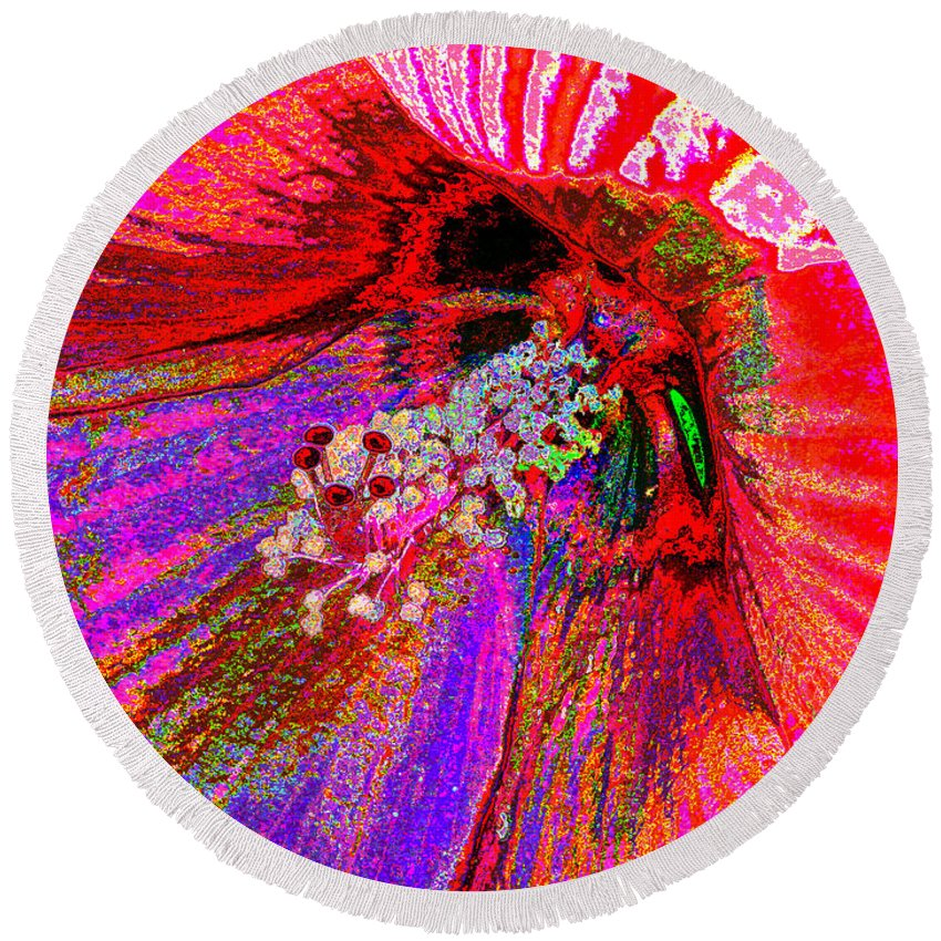 Hibiscus Round Beach Towel featuring the photograph Hibiscus Macro Abstract by J M Farris Photography
