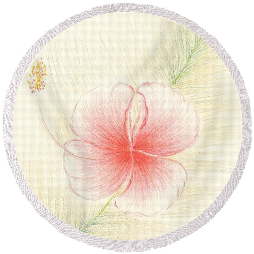 Hibiscus Round Beach Towel featuring the painting Hibiscus On Palm by Dina Holland