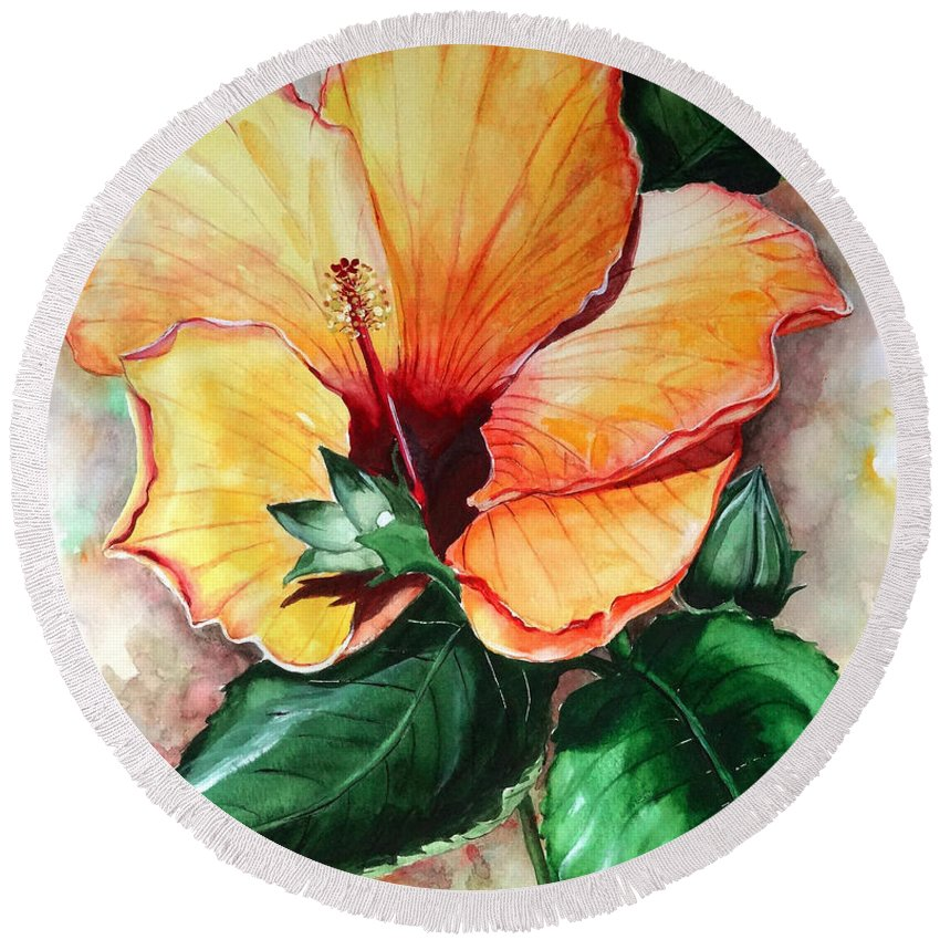 Flower Paintings Bloom Paintings Caribbean Paintings Floral Paintings Tropical Paintings Yellow Hibiscus Paintings Greeting Card Paintings Canvas Print Paintings Poster Art Paintings Round Beach Towel featuring the painting Hibiscus Sunny by Karin Dawn Kelshall- Best