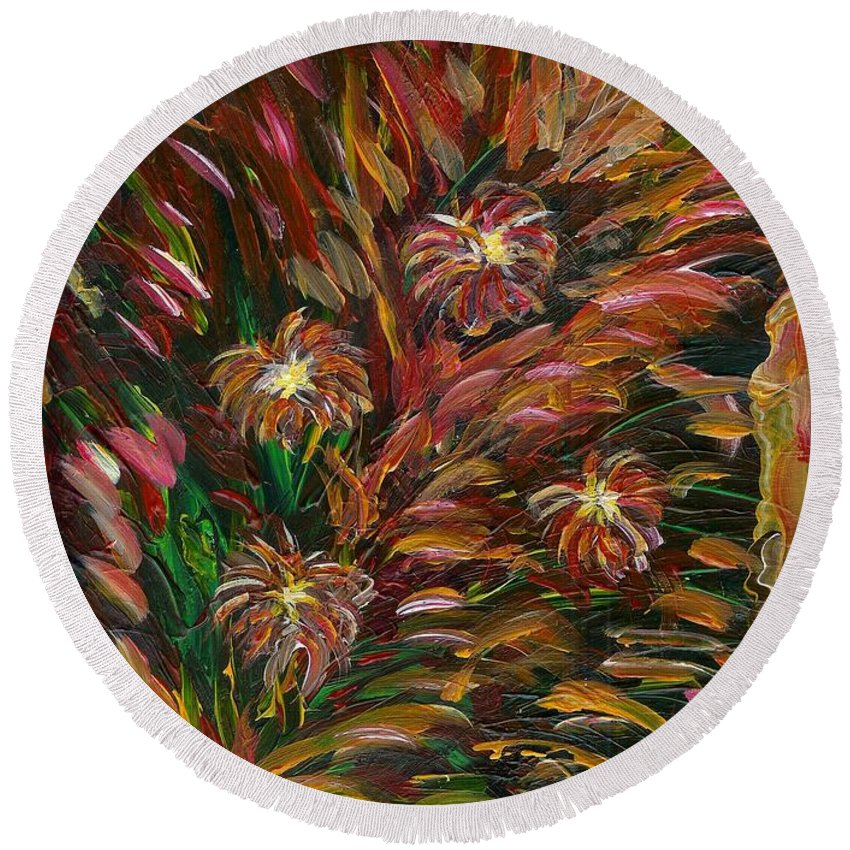 Fireworks In The Tropics Round Beach Towel featuring the painting Hibiscus Surprise by Renu Anne