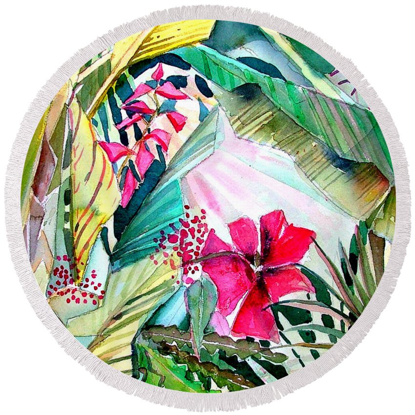 Tropical Round Beach Towel featuring the painting Hidden Beauty by Mindy Newman
