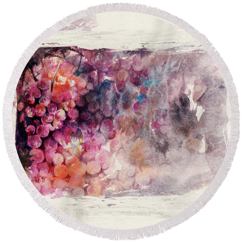 Grapes Round Beach Towel featuring the painting Hidden Beauty by Rachel Christine Nowicki