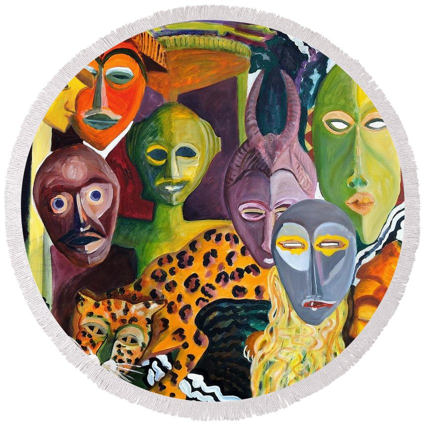 African Masks Round Beach Towel featuring the painting Hidden Identities by Caroline Street