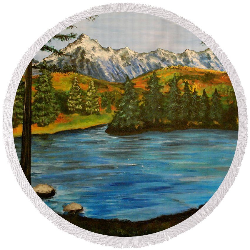 Landscape Round Beach Towel featuring the painting Hidden Lake by Nancy Mueller
