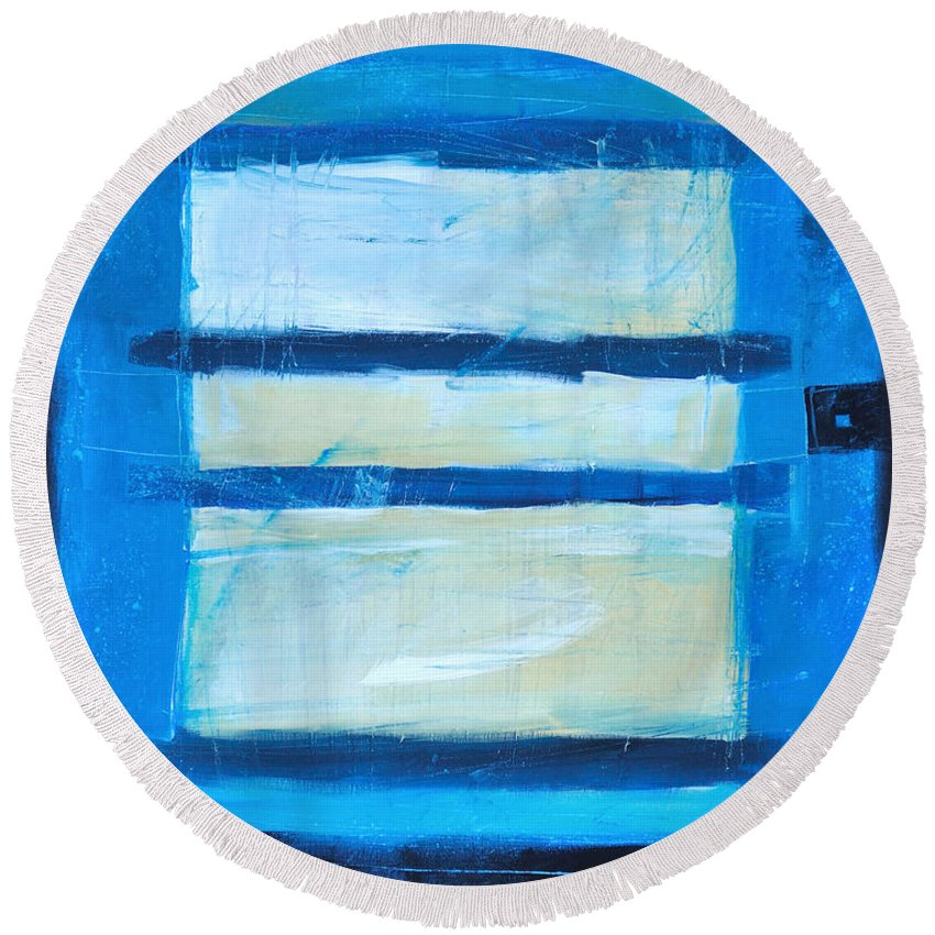 Abstract Round Beach Towel featuring the painting Hidden Moon by Tim Nyberg