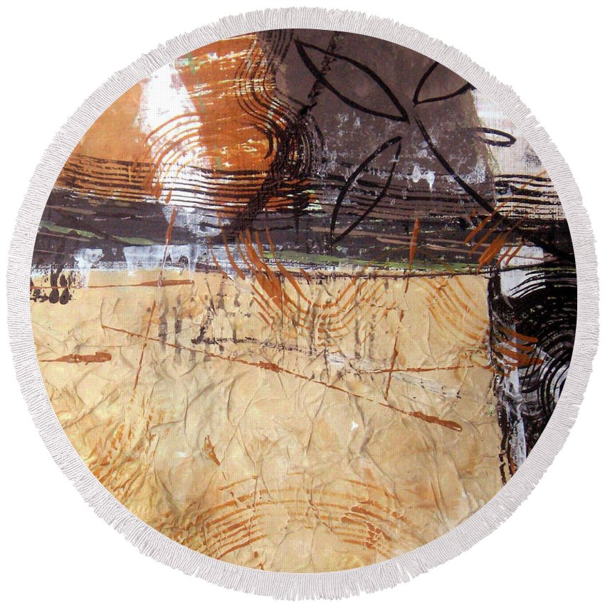 Abstract Round Beach Towel featuring the painting Hidden Treasures II by Ruth Palmer