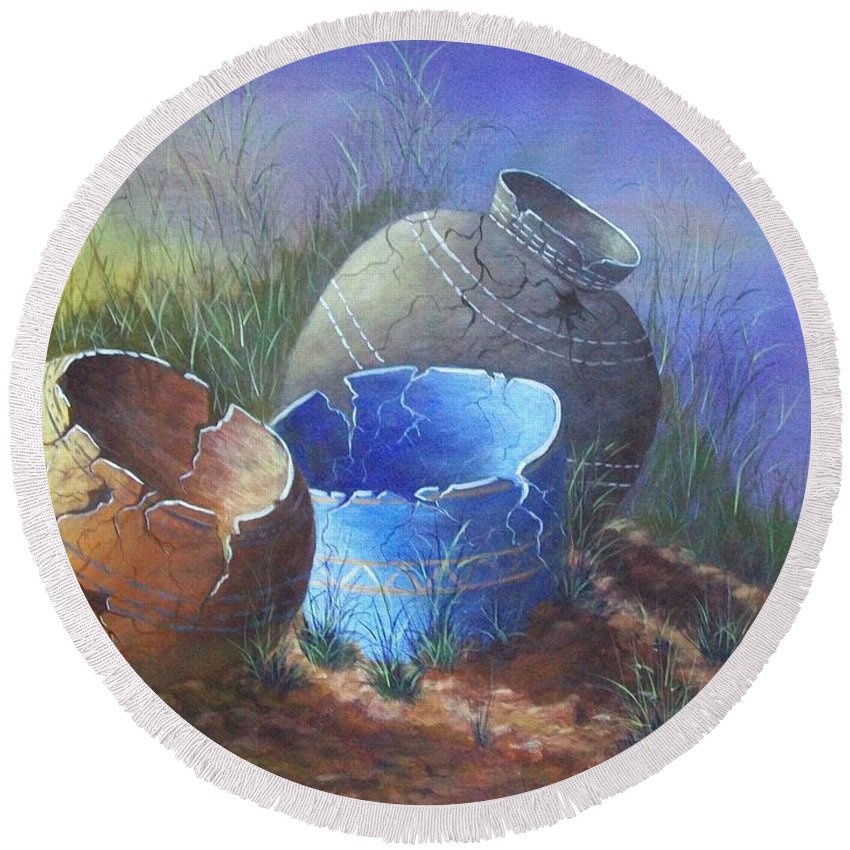 Xochi Hughes Madera Round Beach Towel featuring the painting Hidden Treasures by Xochi Hughes Madera