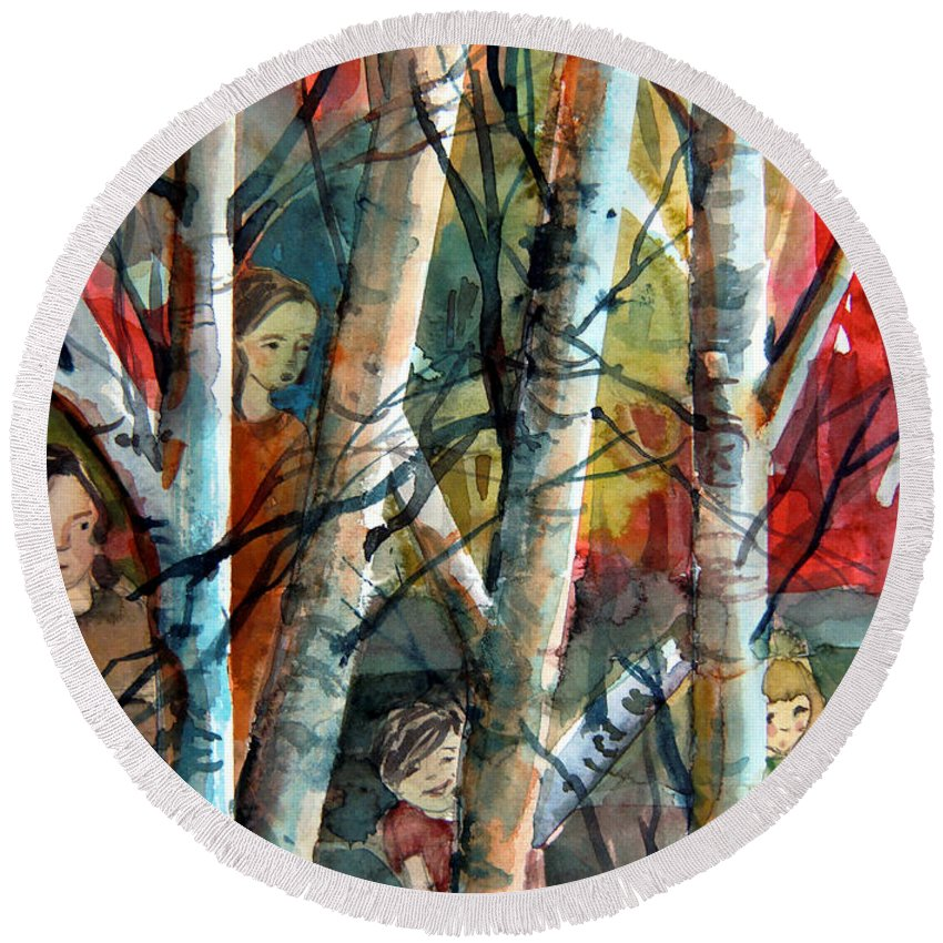 Watercolor Round Beach Towel featuring the painting Hide And Go Seek by Mindy Newman
