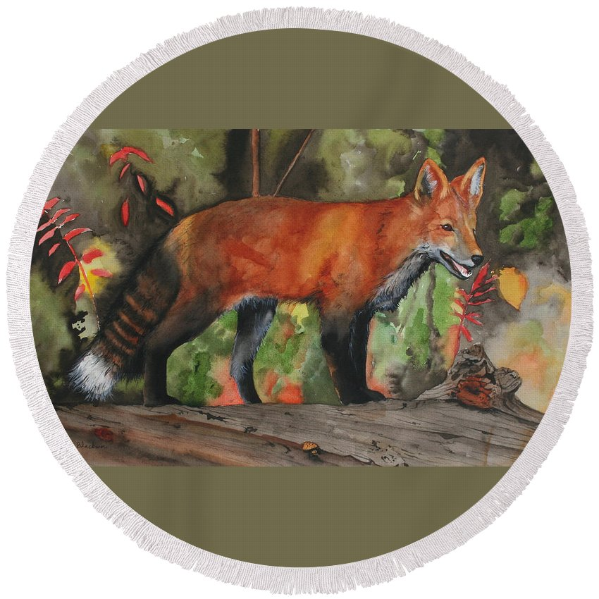 Fox Round Beach Towel featuring the painting Hiding In Plain Sight by Jean Blackmer