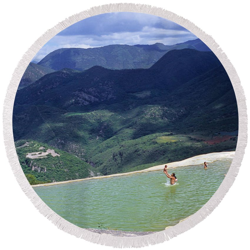 Oaxaca Round Beach Towel featuring the photograph Hierve El Agua 2 by Gabriel G Medina