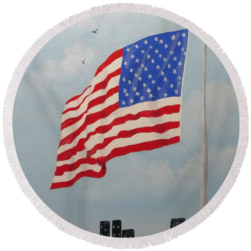 Flag Round Beach Towel featuring the painting High Above The City by Karen Johnson