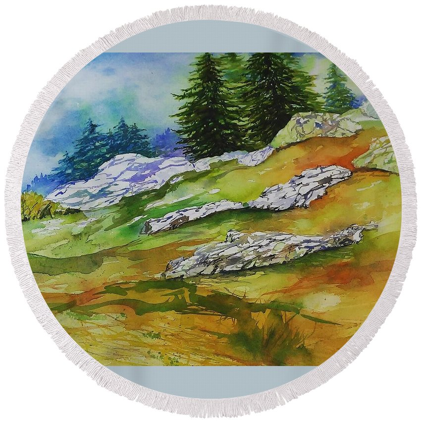 Mountains Landscape Forest Snow Sunshine View Vista Wilderness Ski Hike Autumn Winter Round Beach Towel featuring the painting High Country Boulders by Mary Lou McCambridge