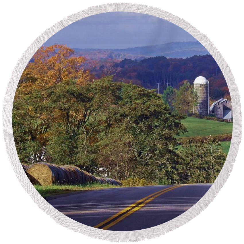 Landscape Round Beach Towel featuring the photograph High Country by Christian Mattison