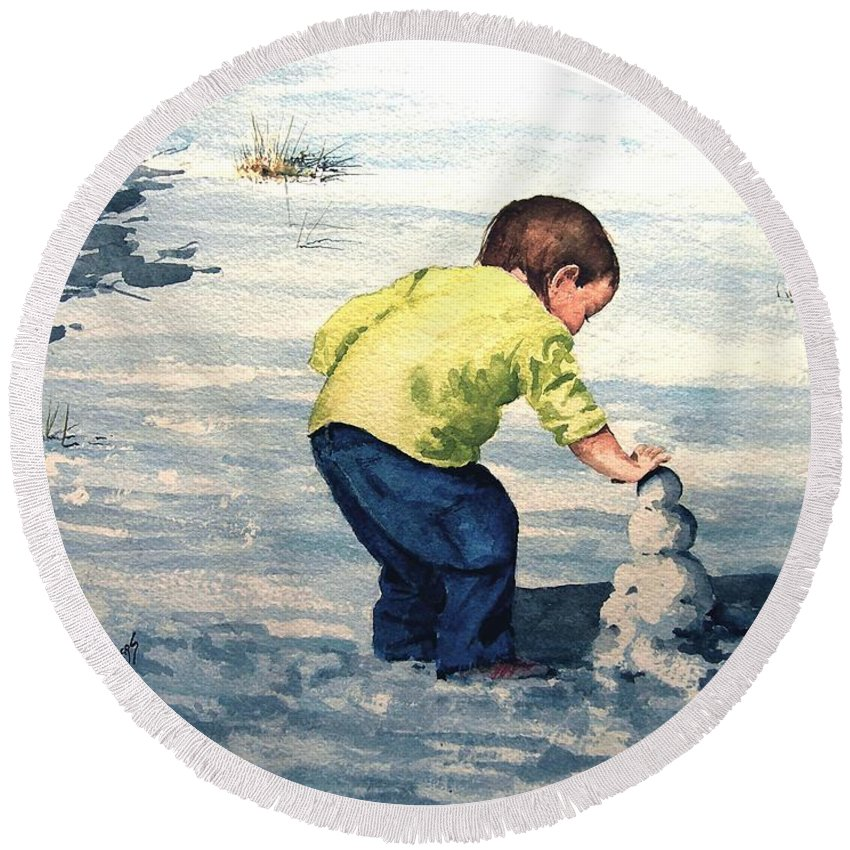 Child Round Beach Towel featuring the painting High Country Snow Girl by Sam Sidders