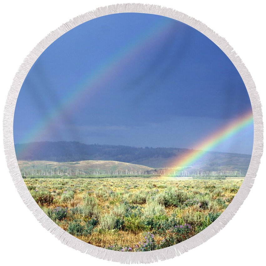 Rainbow Round Beach Towel featuring the photograph High Dessert Rainbow by Marty Koch