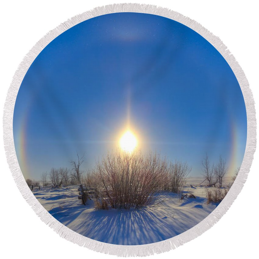 Alberta Round Beach Towel featuring the photograph High Dynamic Range Photo Of Sundogs by Alan Dyer